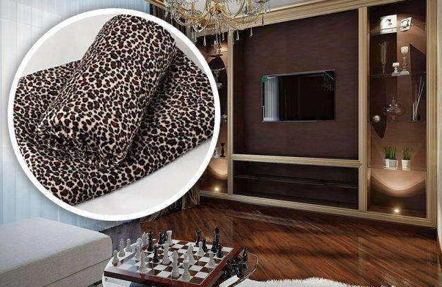 Polár takaró, 150x200 cm, párduc mintás