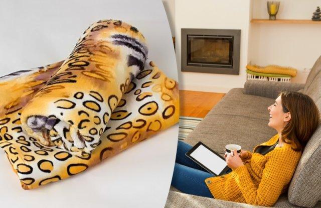 Polár takaró, 150x200 cm, tigris mintás