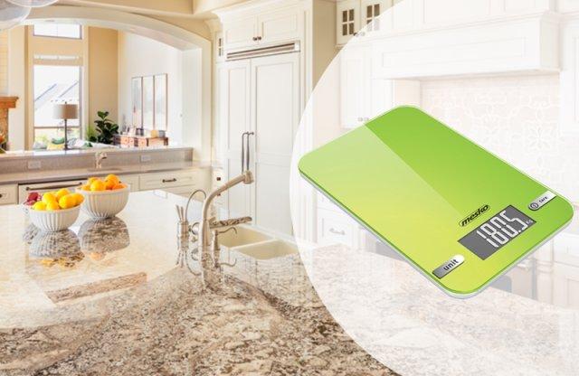 MESKO digitális konyhamérleg, LED kijelző, zöld