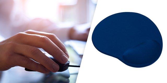 Egérpad ergonomikus kialakítással, csuklótámasszal, kék