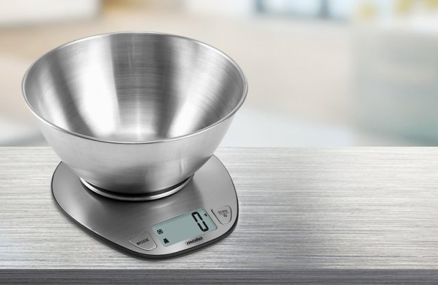 MESKO Digitális tálas konyhamérleg, 5 kg, Inox