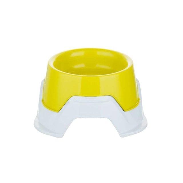 Többfunkciós etető- és itatótál, 1L, fehér-sárga + más színben