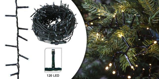 120 LED-es karácsonyi fényfüzér, 8 mozgó beállítással, melegfehér