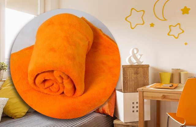Polár takaró, 150x200 cm, narancs, Smartex Corall Fleece