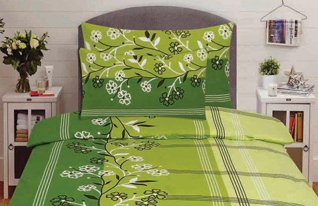 Smartex prémium pamut 3 részes ágyneműhuzat garnitúra, zöld - virág mintás