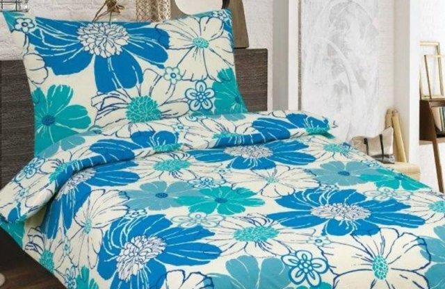 Smartex prémium pamut 3 részes ágyneműhuzat garnitúra, kék-virágos