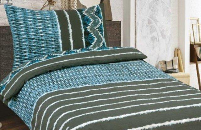 Smartex Prémium Pamut 6 részes ágyneműhuzat garnitúra, barna-kék csíkos