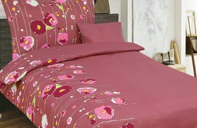 Smartex Pamut 6 részes ágyneműhuzat garnitúra, bordó-virágos