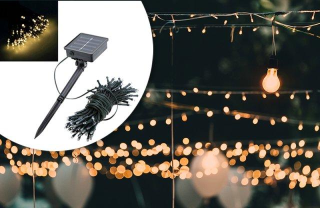 100 LED-es napelemes kerti fényfüzér, 10 m, melegfehér