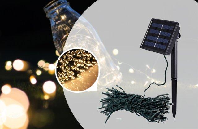 100 LED-es napelemes kerti fényfüzér, 20 m, melegfehér