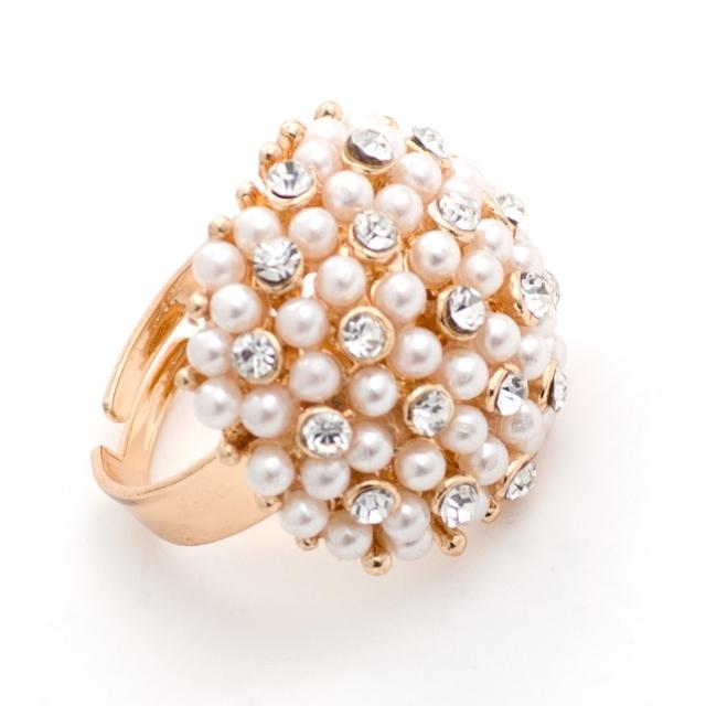 Gyöngy-strassz boly gyűrű, arany alapon, állítható méretű