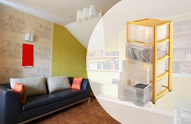Professional görgős tároló, 4 fiókos, sárga, 40x38x78 cm