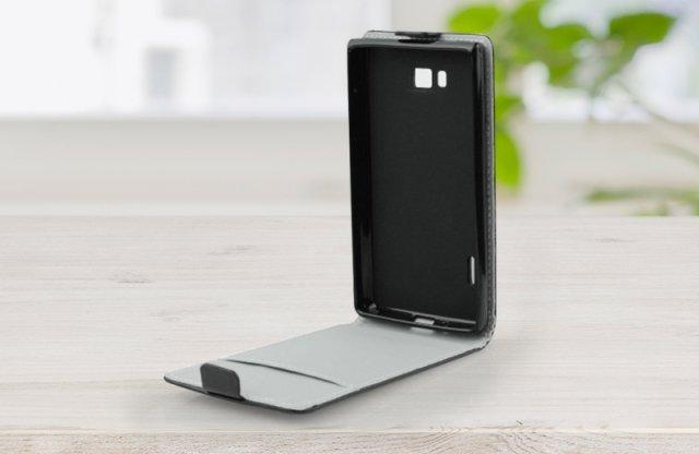 Surazo Samsung Galaxy Alpha bőr fliptok, fekete