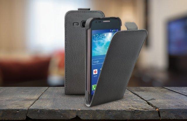Surazo Samsung Galaxy Ace 4 bőr fliptok, fekete