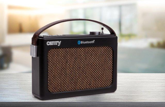 Camry retro bluetooth-os rádió, barna