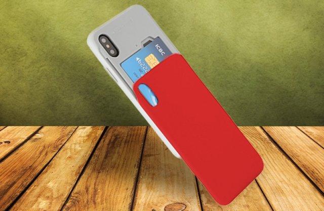 Mercury iPhone X kártyatartós védőtok, piros + több színben