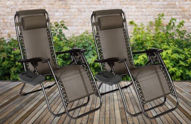 Zéró gravitáció kerti szék, 2 db + ajándék pohártartóval