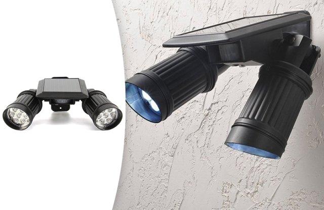 Kétágú napelemes/szolár LED lámpa mozgásérzékelővel