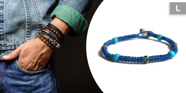 ABDU - Csomózott viaszolt zsinór karkötő porcelán gyöngyökkel, kék, L-es + több méretben