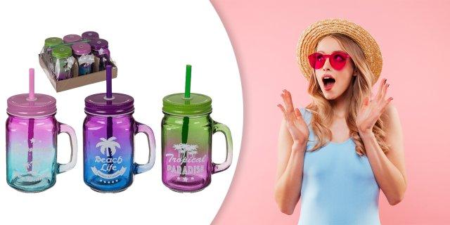 Irizáló színes befőttes üveg pohár szívószállal - 1 db