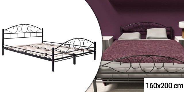 Fém ágykeret ajándék ágyráccsal, 160 x 200 cm, fekete + több színben