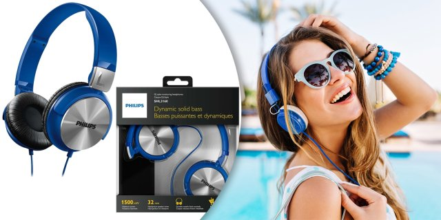 Philips SHL3160 DJ fejhallgató, kék