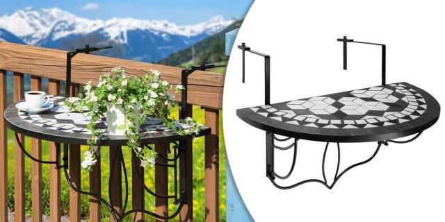 Lehajtható balkon asztal, fekete színben