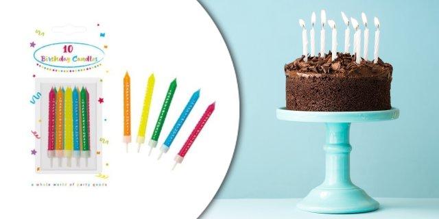 Happy Birthday tortagyertya, gyertya szett 10 db-os