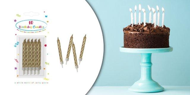 Happy Birthday Gold tortagyertya, gyertya szett 10 db-os