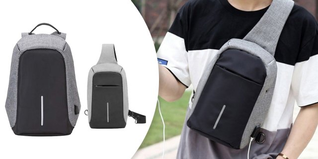 Lopásbiztos hátizsák és oldaltáska szett, szürke + más színben