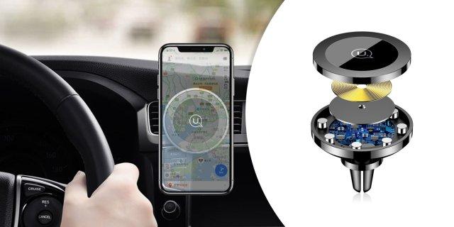 Vezeték nélküli töltő és autós mobil tartó, fekete
