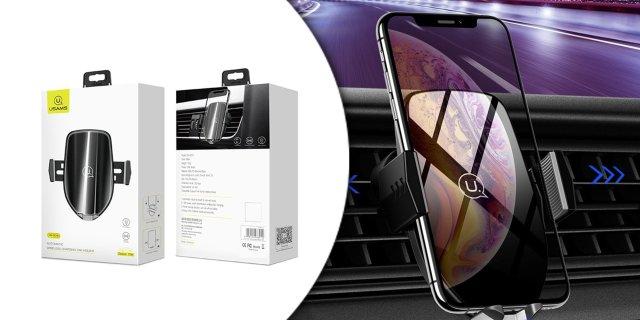 Vezeték nélküli töltő és autós mobil tartó, touch szenzorral és beépített akkumulátorral