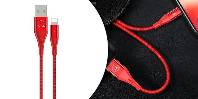 Lightning töltőkábel, 1.2m, piros + más színben