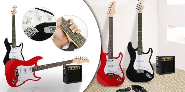 Elektromos gitár szett kezdőknek, ajándék erősítővel, piros + más színben
