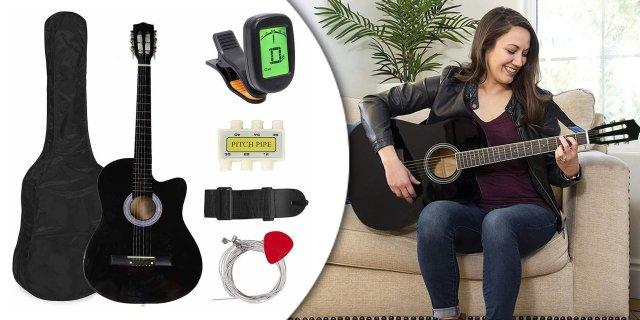 Akusztikus gitár szett kezdőknek, ajándék hangolóval, fekete + más színben
