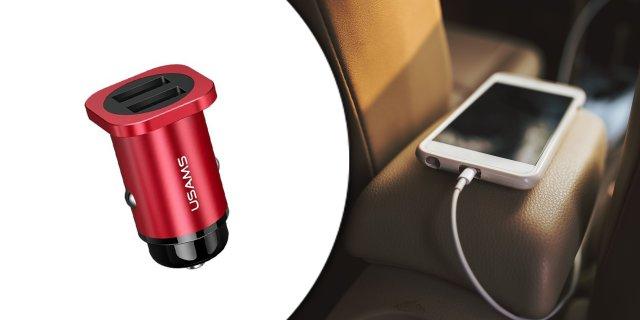 USAMS CC54GC02 Szivargyújtós töltő dupla USB-vel 4,8A, piros + más színben