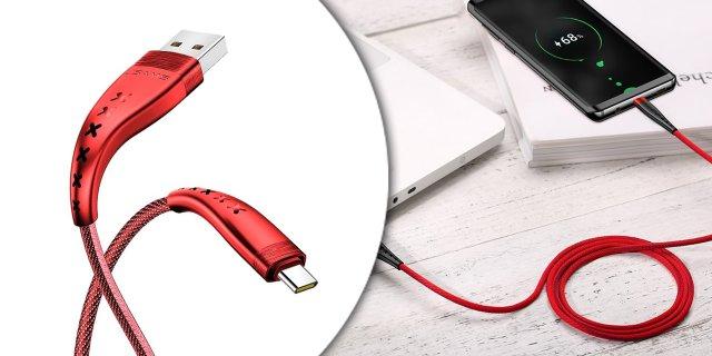 USAMS SJ250USB03 Flexibilis Type-C kábel, piros + más színben