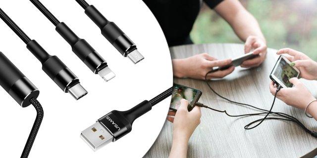 USAMS SJ2193IN1101 3 az 1-ben töltőkábel, Micro USB, Lightning, Type-C, fekete
