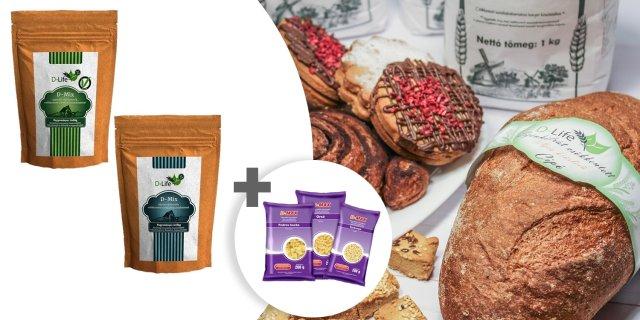 D-life sütőkeverék és süteménykeverék, 3 csomag ajándék tésztával