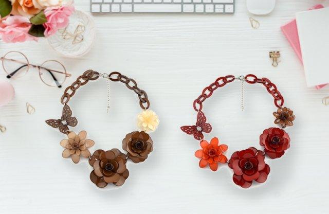 Virágoskert nyakék, barna + más színben