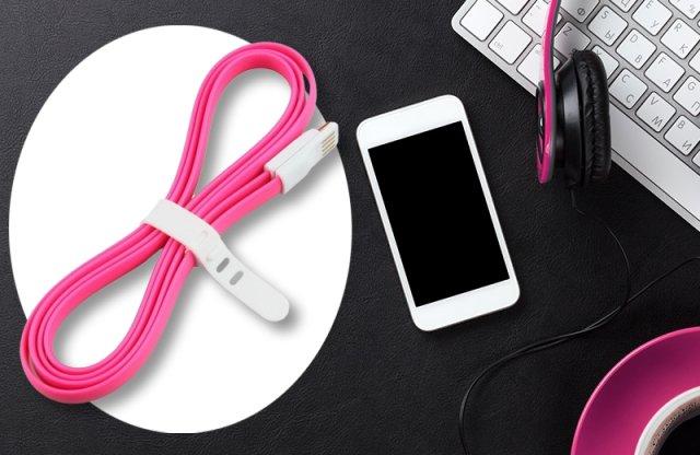iTotal micro USB lapos adat és töltőkábel, 120 cm-es, pink + más színekben