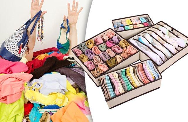 Textil tárolódoboz fehérneműknek, 4 részes, bézs