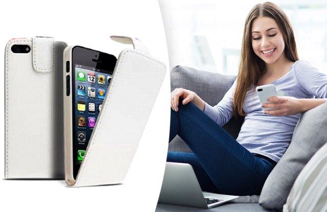 iPhone4/4s bőr flip tok, fehér
