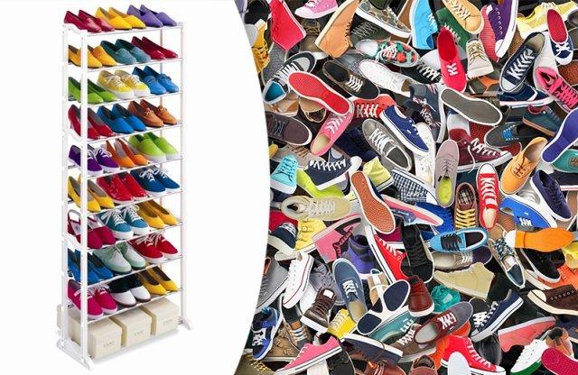 10 soros cipőtároló polc, fehér