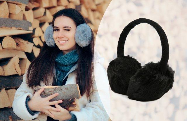 Fülmelegítős fejhallgató, állítható méret, fekete