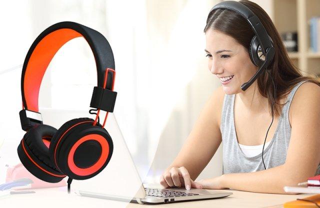 DJ Stereo összecsukható fejhallgató headset, állítható, narancssárga + más színben